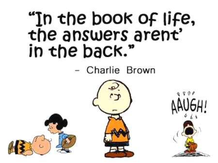 In the book of life, the answers aren't in the back - Charlie Brown