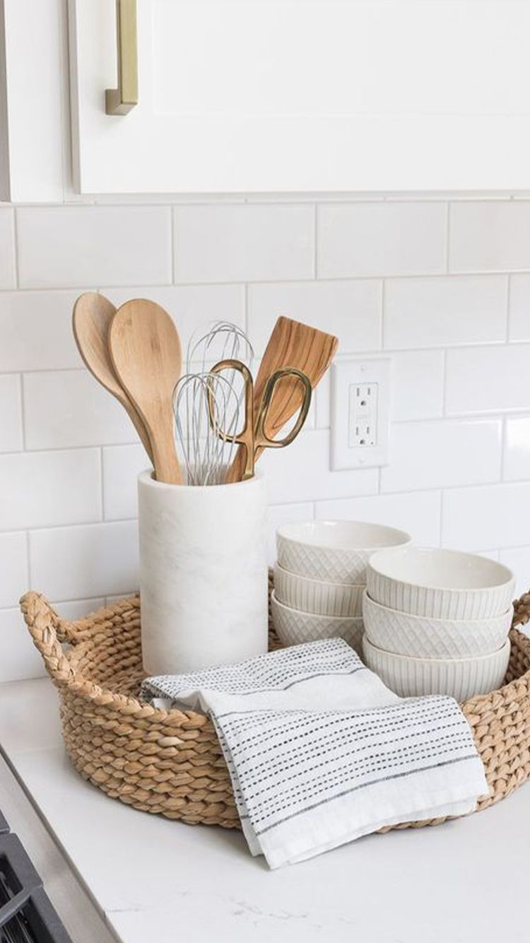 Green And Sustainable Ideas To Redecorate Your Apartment Woven Trays Kitchen Decor White Kitchen Remodeling
