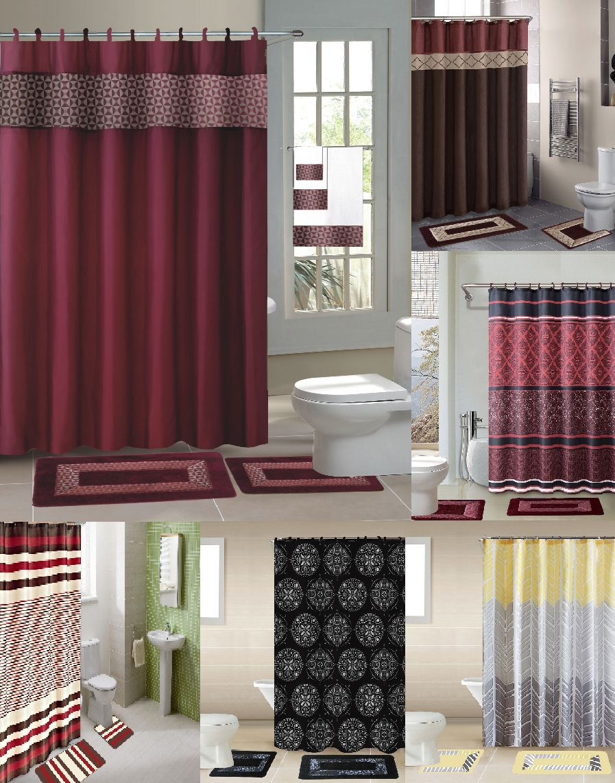 Bathmats Rugs And Toilet Covers 133696 15pc Shower Curtain Fabric