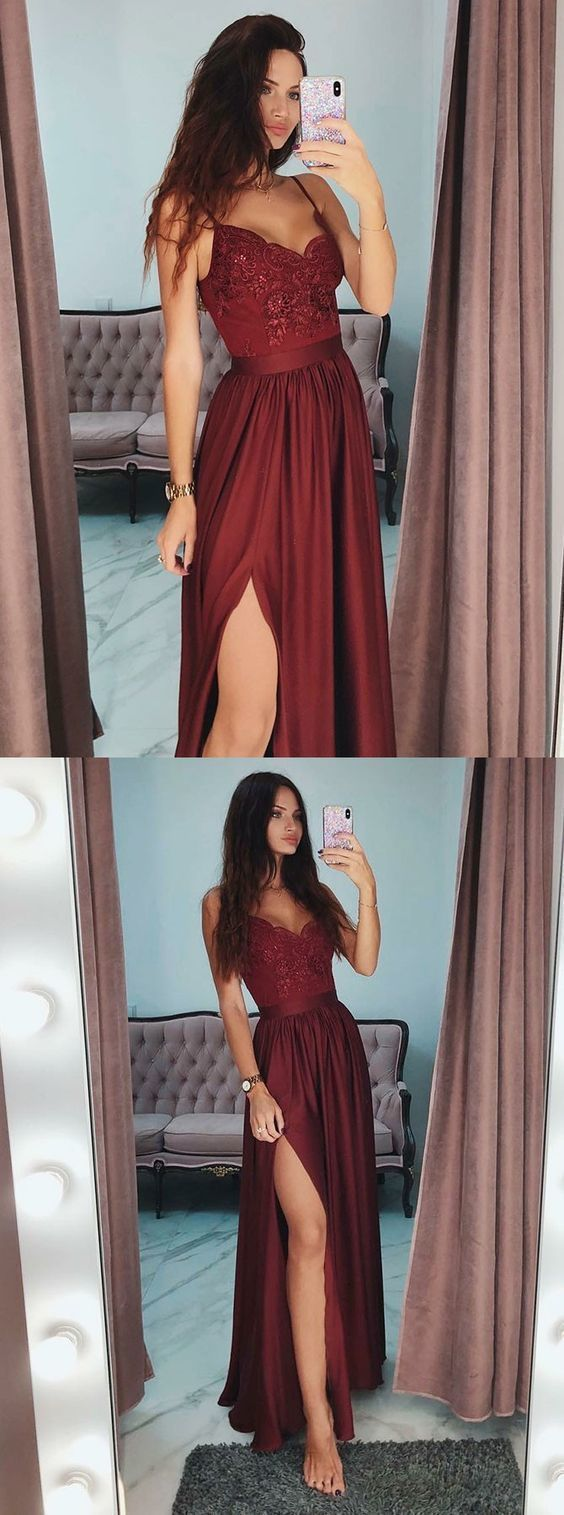 A-line Appliqued Long Prom Dress With Slit Fashion Winter Formal Dress