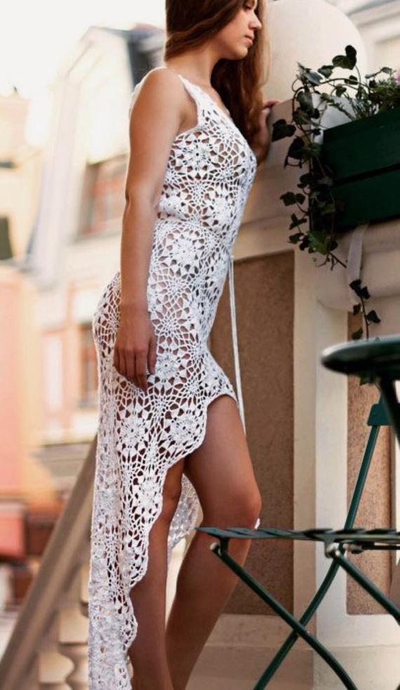 Crochet Mandala Dress, Beach Dress , Boho Style Dress. #crochetbeachdress