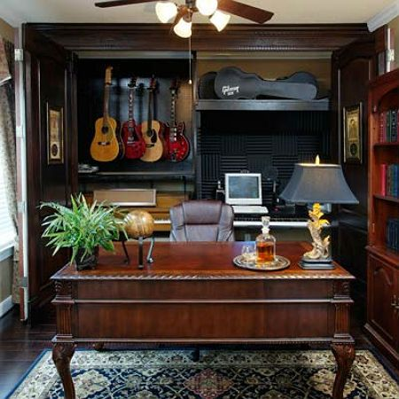 A Hidden Music Studio In This Grand Home Office Diy Room Decor