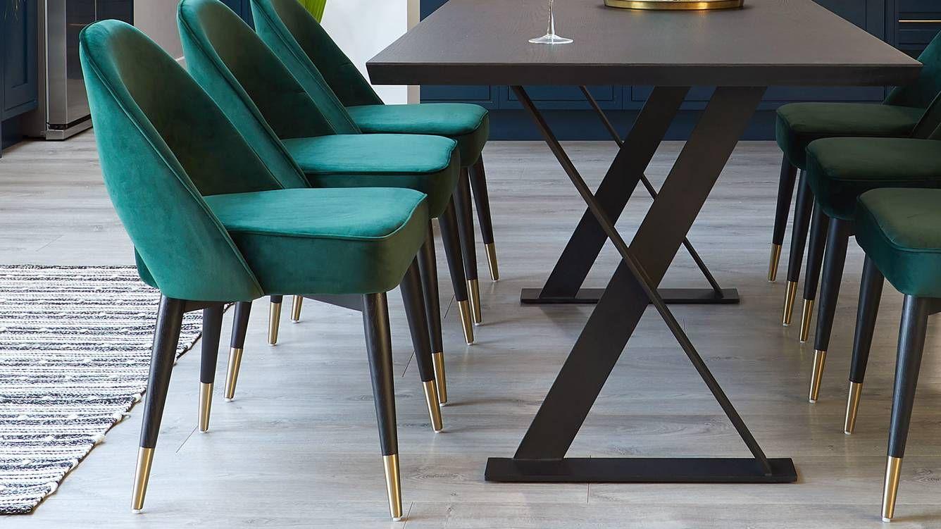 Mid Century Modern Dark Velvet Dining Chair Velvet Dining Chairs