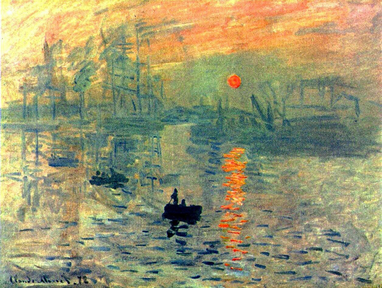 Claude Monet Sunrise At Sea Old Master Painting 12X16 Inch Framed Art Print