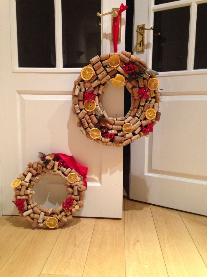 Wine & Champagne Cork Wreaths. Can be made to suit any occasion - various sizes avalible - inquire within