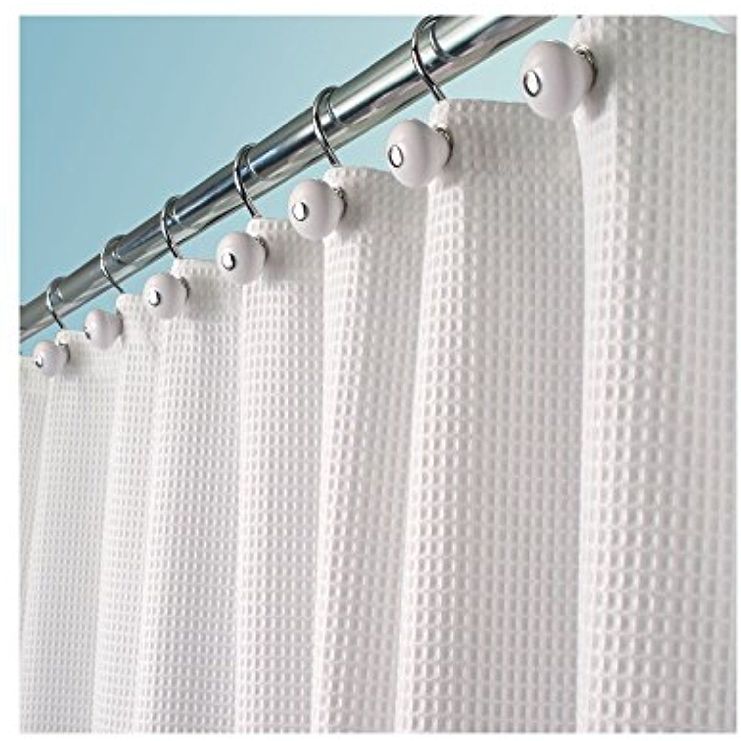 MDesign Hotel Fabric Cotton And Polyester Blend Shower Curtain EUR White Learn