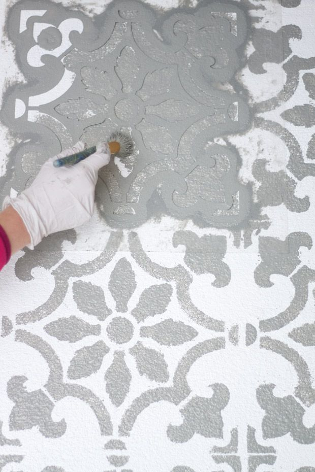 Add Pattern To Your Patio Using A Tile Stencil Concrete