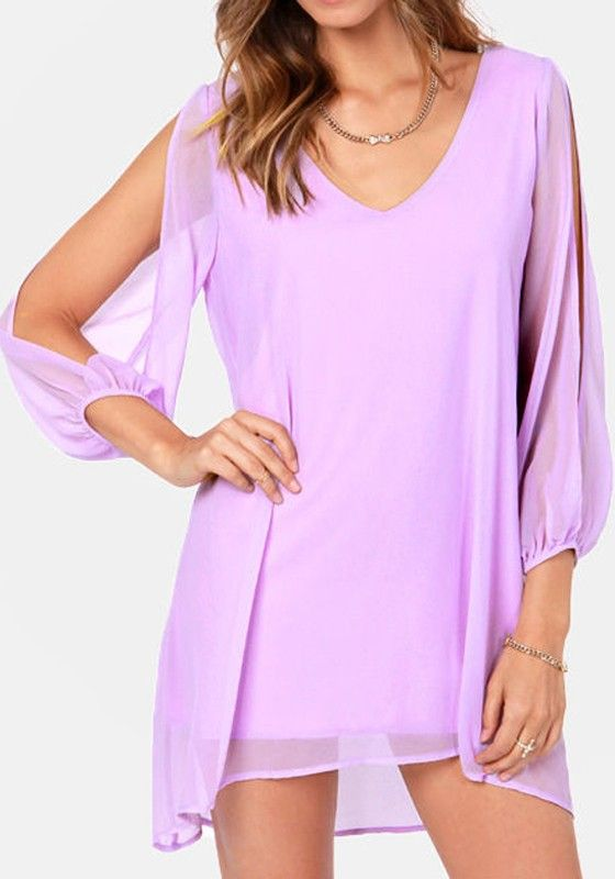 Light Purple Plain Hollow-out Split Sleeve Chiffon Dress - Mini ...