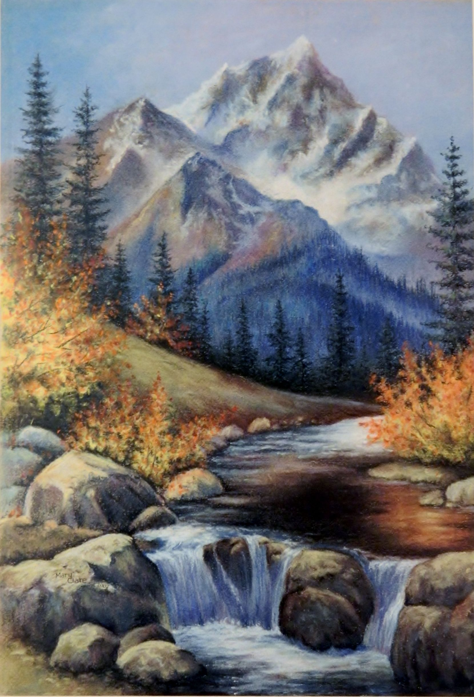 Mountain Stream Pastel Painting By Mary Clare