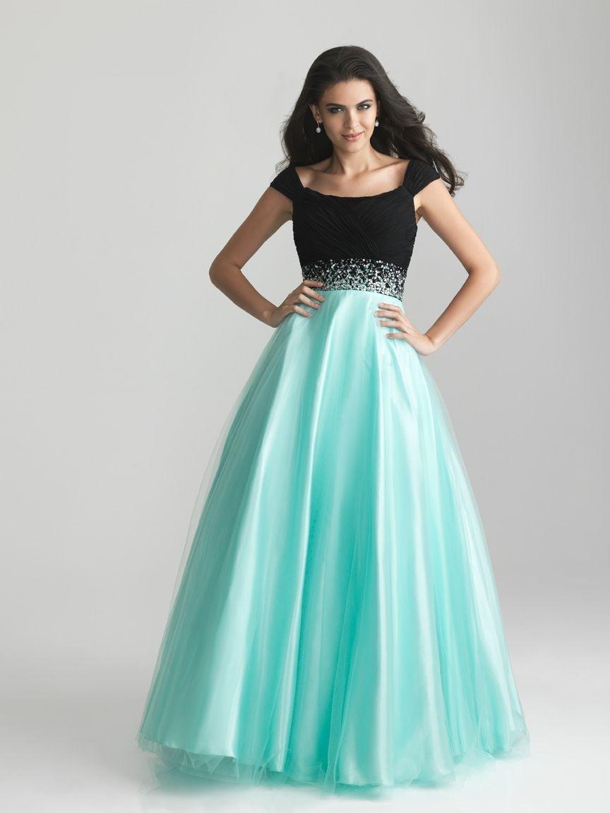 Custom-Made-Elegant-Black-And-Blue-Tulle-Ball-Gown-font-b-Modest-b ...