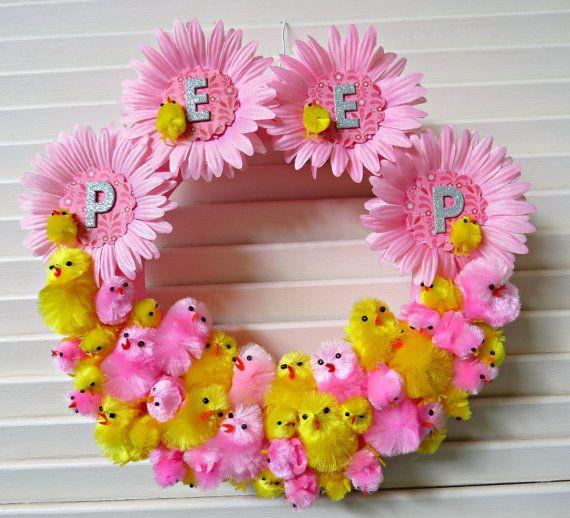 FUN Easter Springtime Wreath PEEP by dimestorechic on Etsy