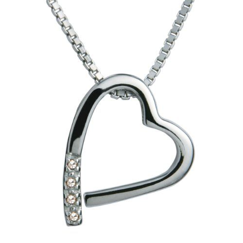 Hot Diamonds Diamond and Silver Spiral Pendant with Sterling Silver Box Chain of Length 40+5 cm Extender A9FVNRg