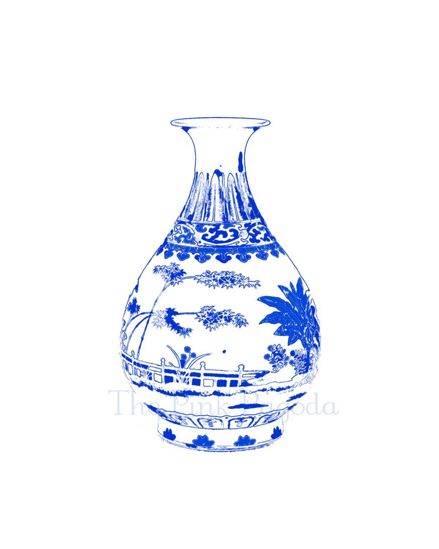 Blue and White Chinese Vase on White 8x10 Giclee. $25.00, via Etsy.