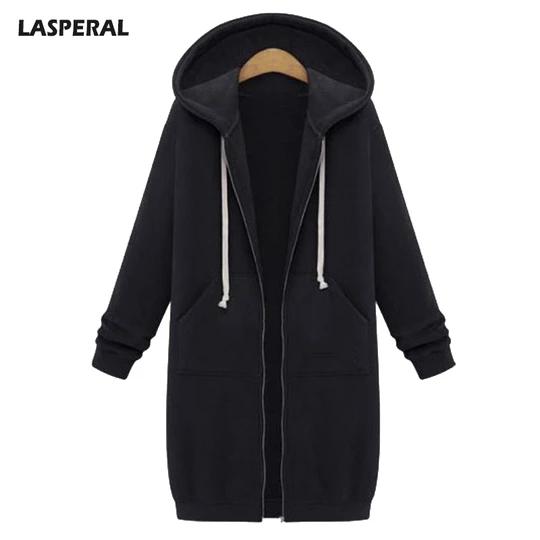 Plus Size Women Winter Warm Hooded Zipper Long Jacket Coat Casual Hoodie Outwear