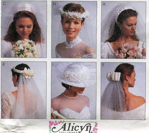 Tricia Nixon Wedding Gown: 1990s Bridal Veil & Hat Pattern McCalls 7984 By