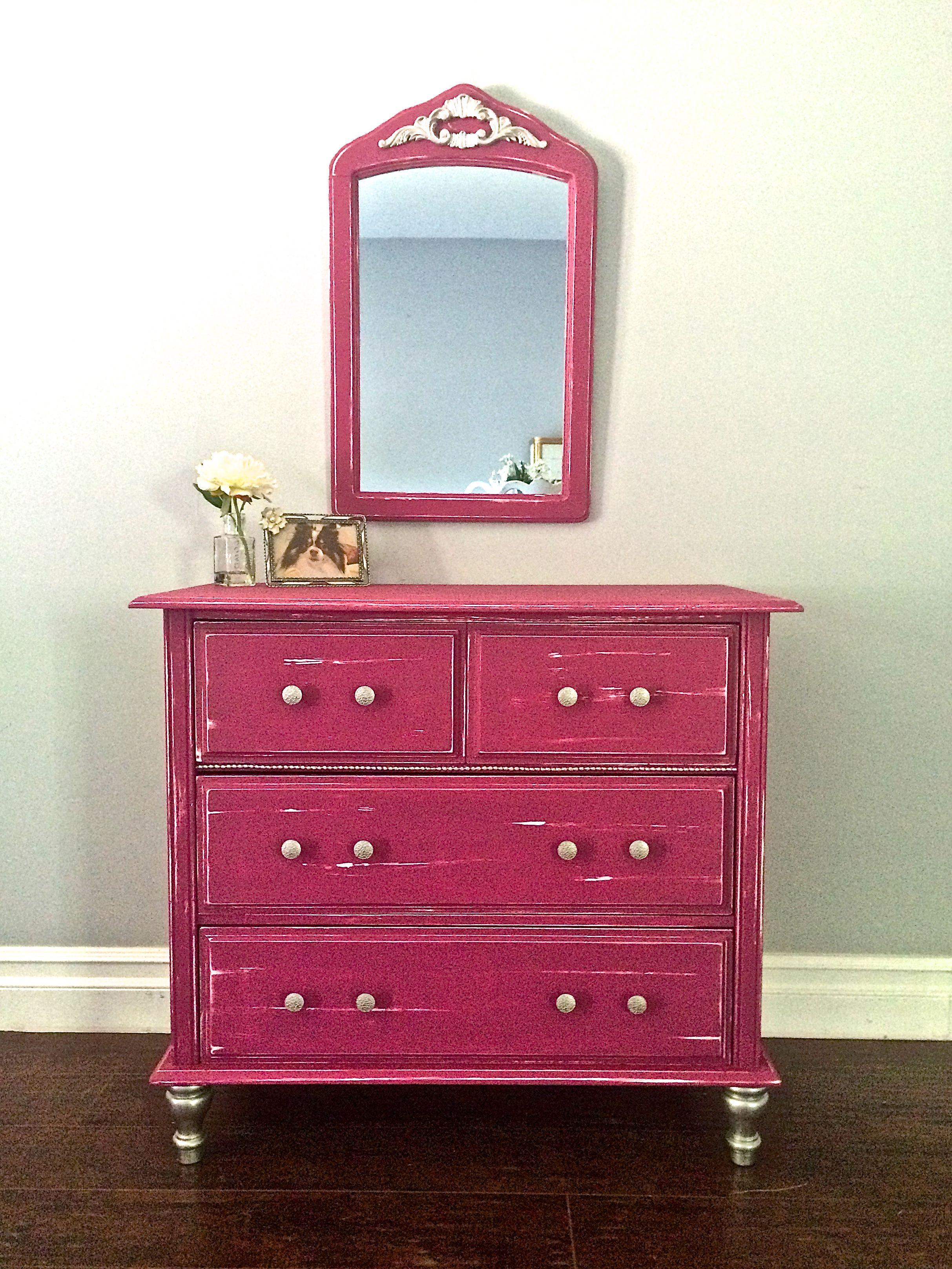 Shabby Chic Berry Pink Silver Leaf Girls Vanity Dresser