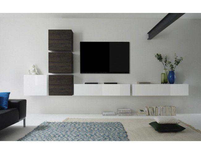 Benvenuto design cube tv wandmeubel nine huiskamer for Meuble sous tele murale