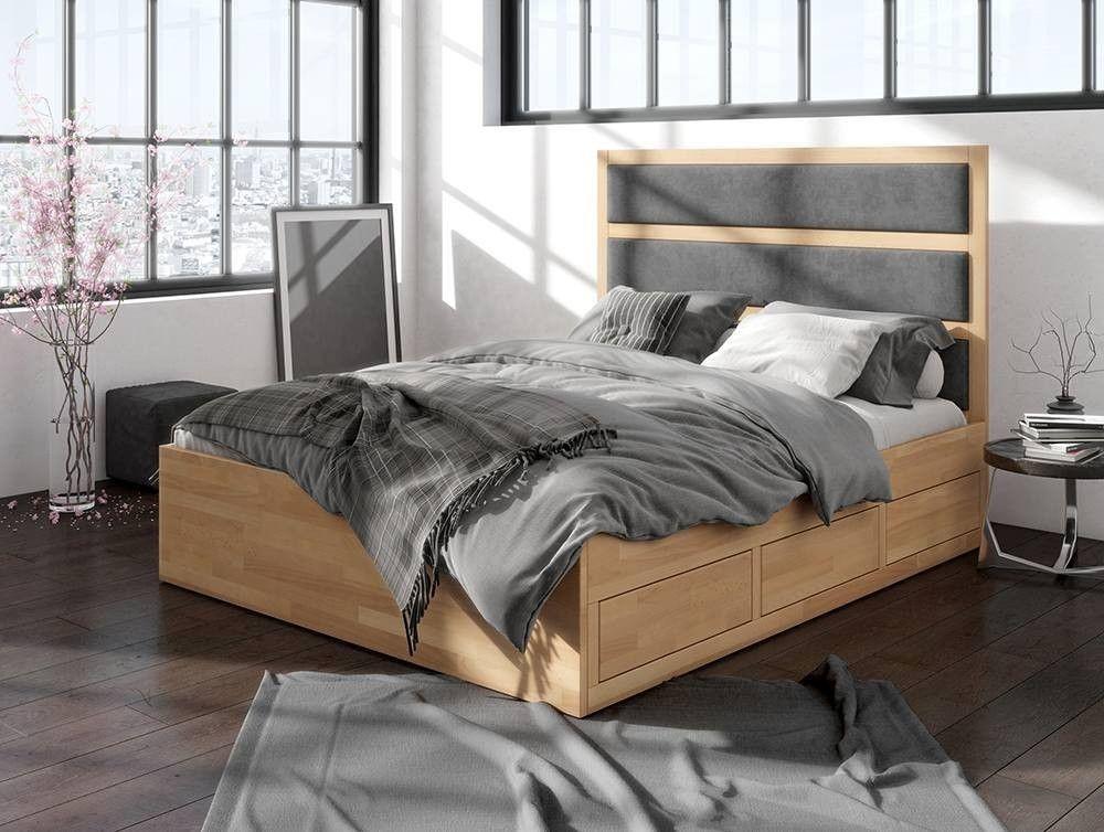 łóżko Drewniane Bukowe Z Szufladami Visby Magnus