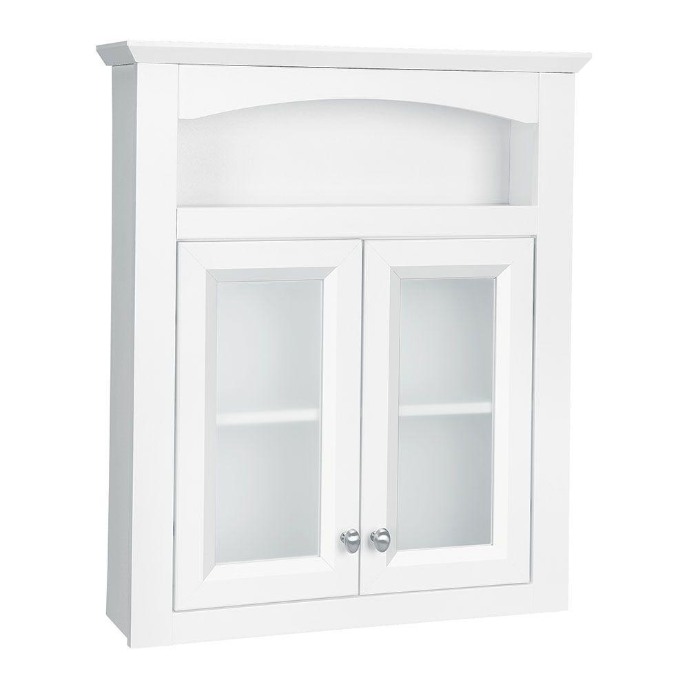 Glacier Bay Modular 24 3 5 In W X 29 In H X 6 9 10 In D Bathroom Storage Wall Cabinet With Frosted Glass In White Ttdecfg Wht With Images Bathroom Wall Storage Wall Storage Cabinets