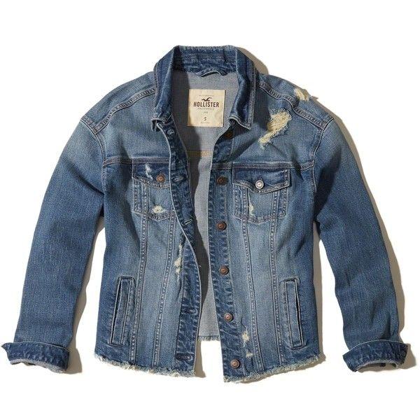 Hollister Boyfriend Ripped Denim Jacket 50 Liked On Polyvore Featuring Outerwear Jackets Denim Je Ripped Denim Denim Utility Jacket Vintage Jean Jacket