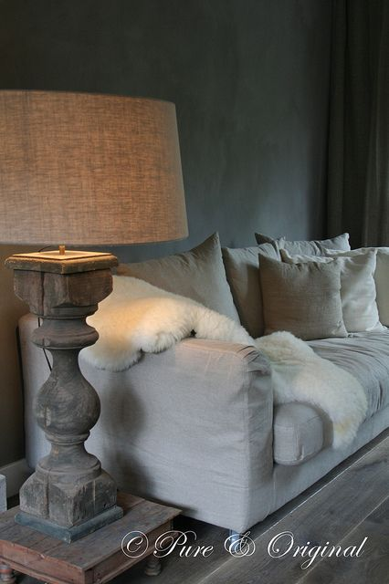 turned leg lamp. See these old table legs all over antique stores and salvage places. Use with a lamp kit from Home Depot, and a burlap shade for the same look on a budget.