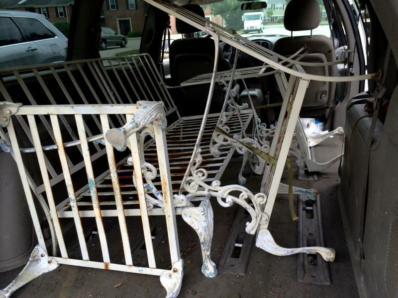 Craigslist score vintage patio furniture powder coating