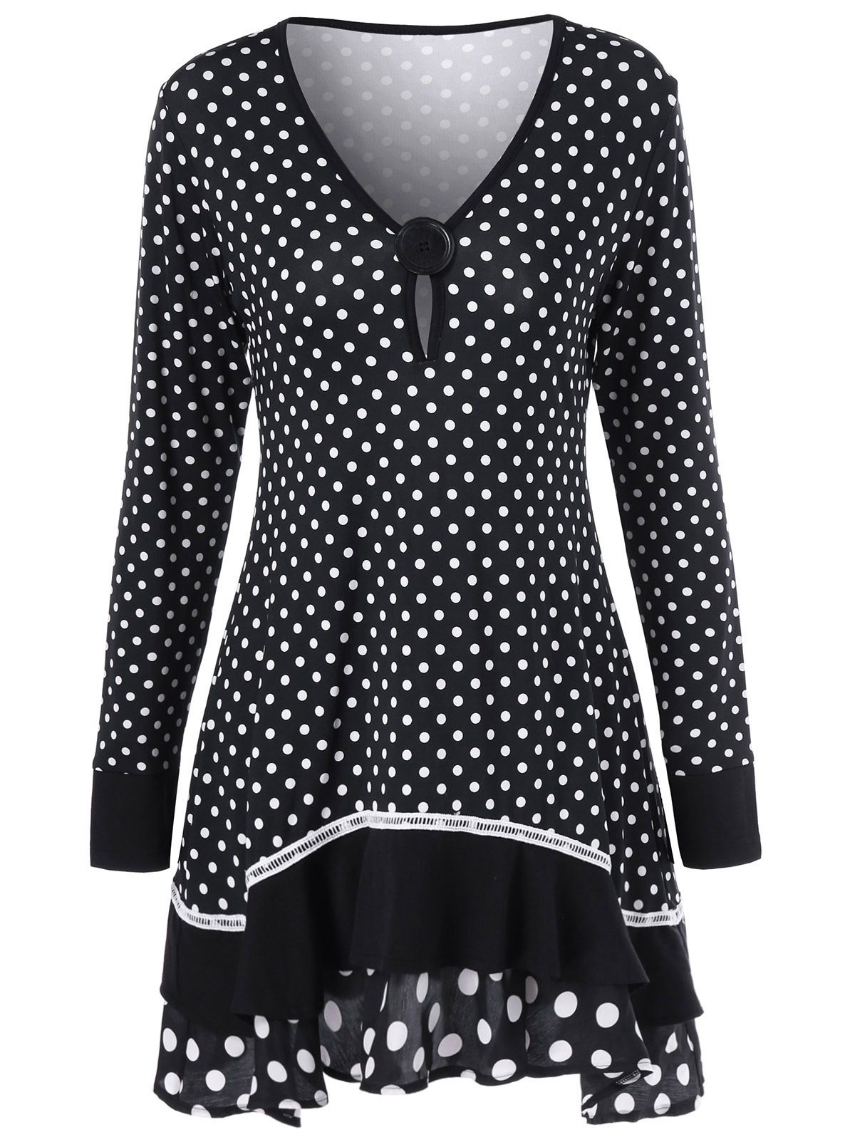 Polka dot ruffled longline tshirt dots inspiration and polka dots