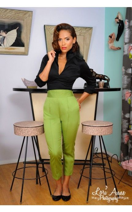 High Waisted Cropped Trousers in Olive Green Sateen | Pinup Girl Clothing