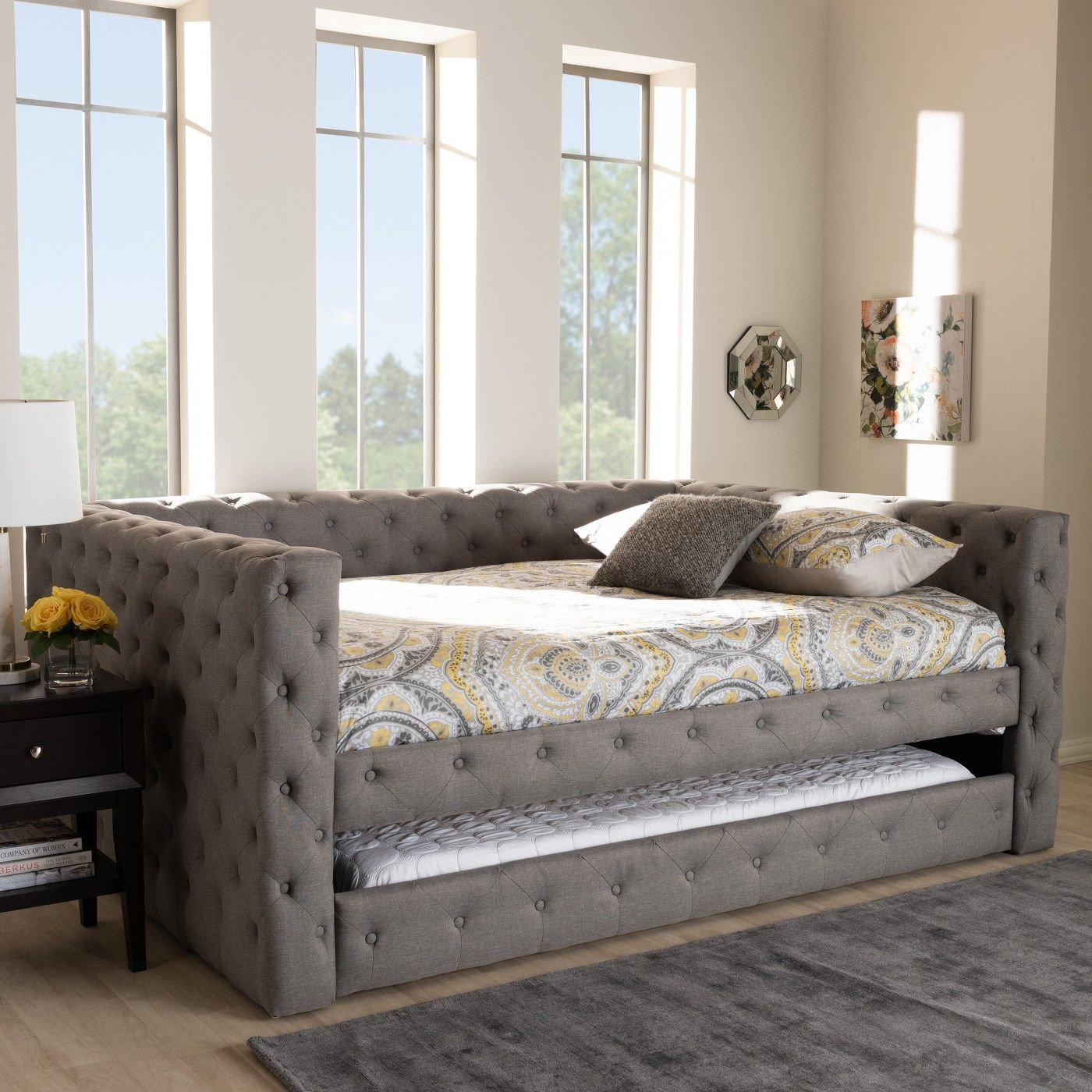 Full Anabella Daybed with Trundle Gray Baxton Studio