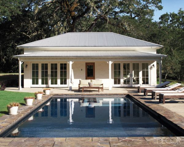pool house - don't like the roof line, but like the french doors