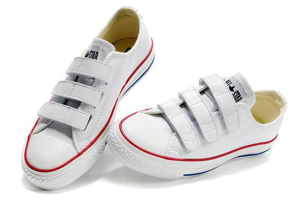 White Converse All Star Chuck Taylor 3 Strap Velcro Low Tops