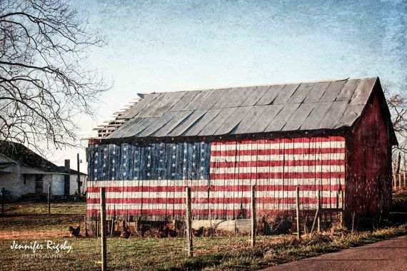 American Flag Barn Photography Print Rustic Wall Art Country Life Home Decor Patriotic Red White Blue Canvas 40x30 30x24 24x20