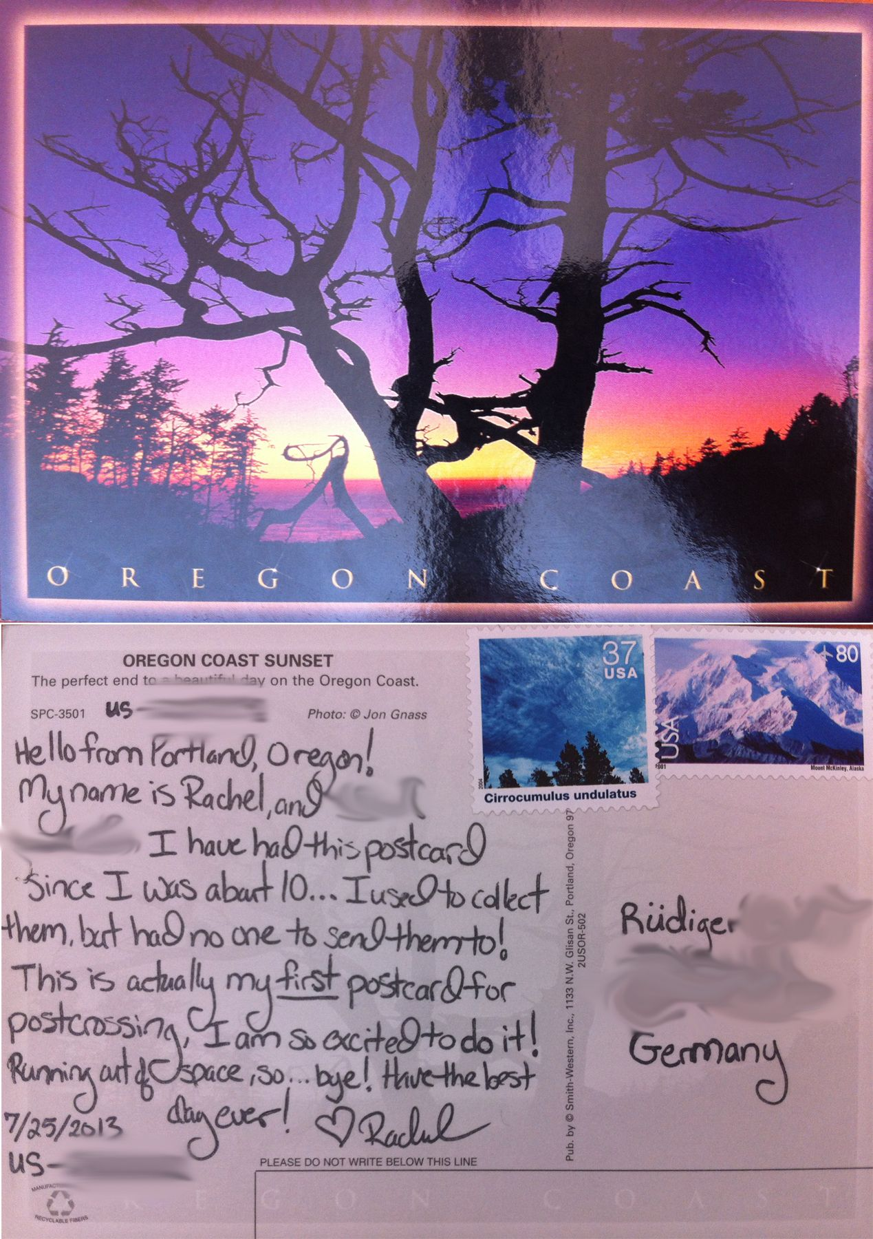 The First Postcard I Sent For Postcrossing Front And Back