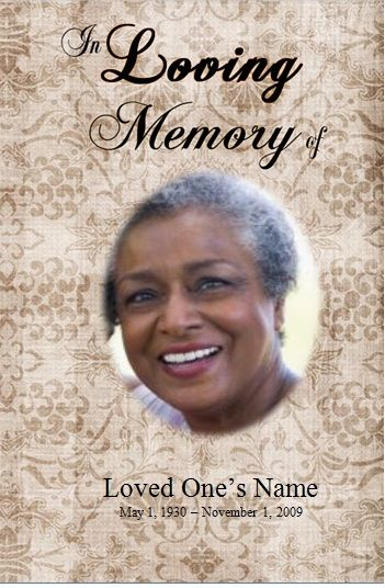 Single Fold Printable Obituary Template For Microsoft Word