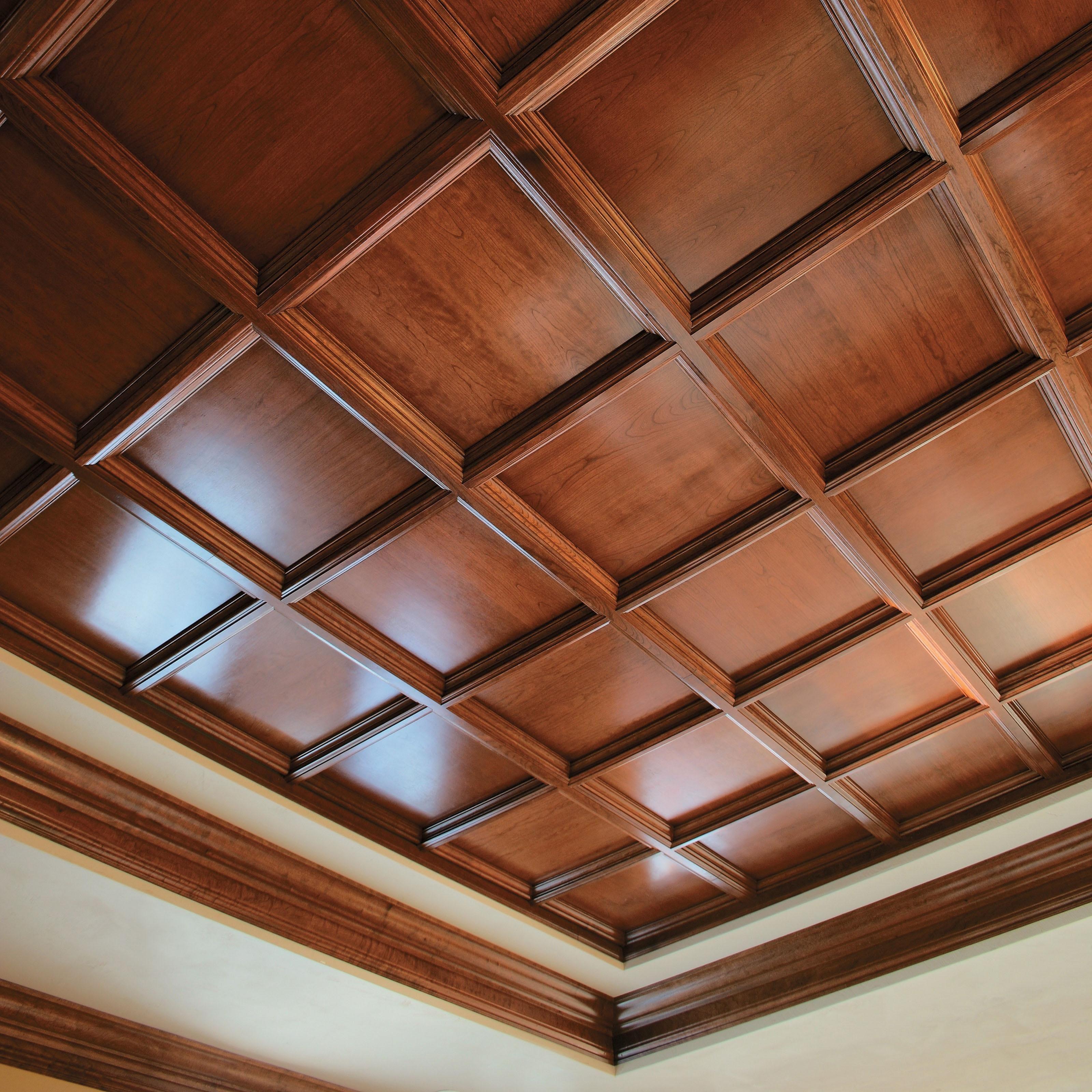 Fabulous Wood Drop Ceiling Tile Idea In Teak Wood Finish