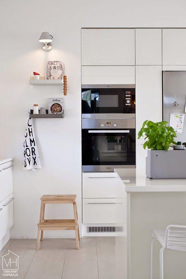 ideas-deco-como-decorar-cocinas-blancas-madera cocinas Pinterest