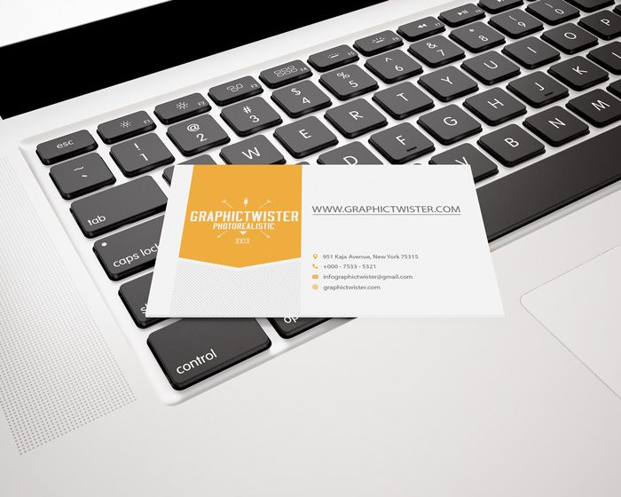 Free Business Card Mockup On Le Keyboard 40 4 Mb Graphictwister