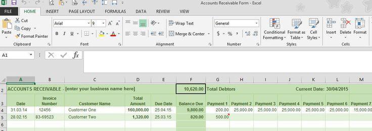 Accounts Receivable Ledger - accounts payable excel spreadsheet template