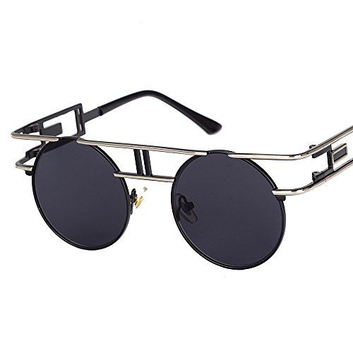 2f169042d68 VeBrellen Men Gothic Sunglasses Reflective Flash Mirror Lens Vintage Women  Steampunk Round Sunglasses Silver Frame With