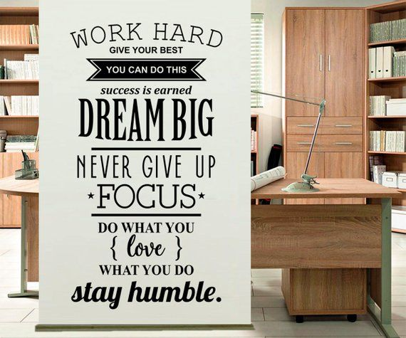 work hard - wall sticker, office wall decal, decor for office