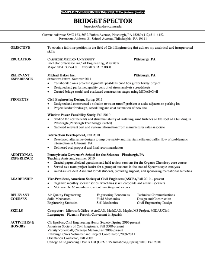 Resume For Senior Civil Engineering Free Resume Sample Engineering Resume Resume Internship Resume