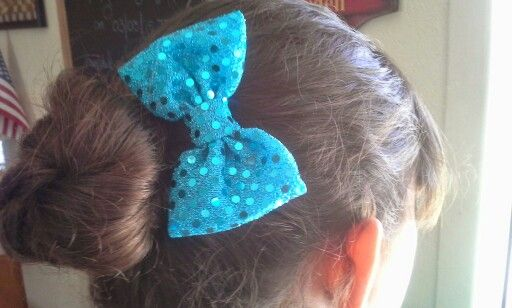 Blue sequin bow.