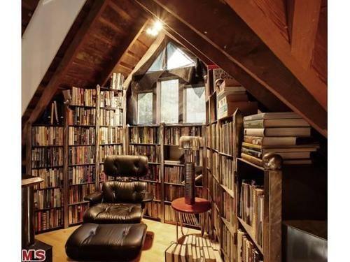 cozy library in the attic