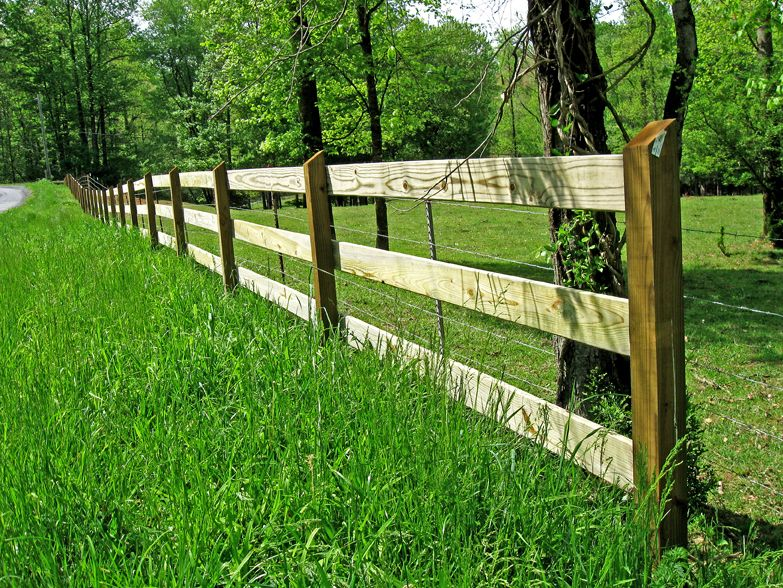 1x6 And 4x4 Post And Rail Fence Wood Fence Post And Rail Fence Backyard Fences