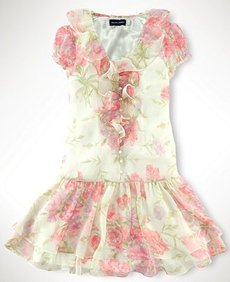 2d11efdf07c7 Ralph Lauren Kids Dress, Girls Ruffle Front Floral Chiffon Dress - Kids  Girls 7-16 - Macy's
