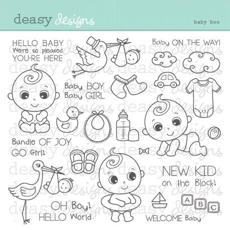 Digital Stamp Art   Baby Boo  is part of Digital stamps - 300 dpi     Please note that the watermark does not appear on the images purchased     THIS PRODUCT LISTED IS A DIGITAL DOWNLOAD NOT A PRINTED