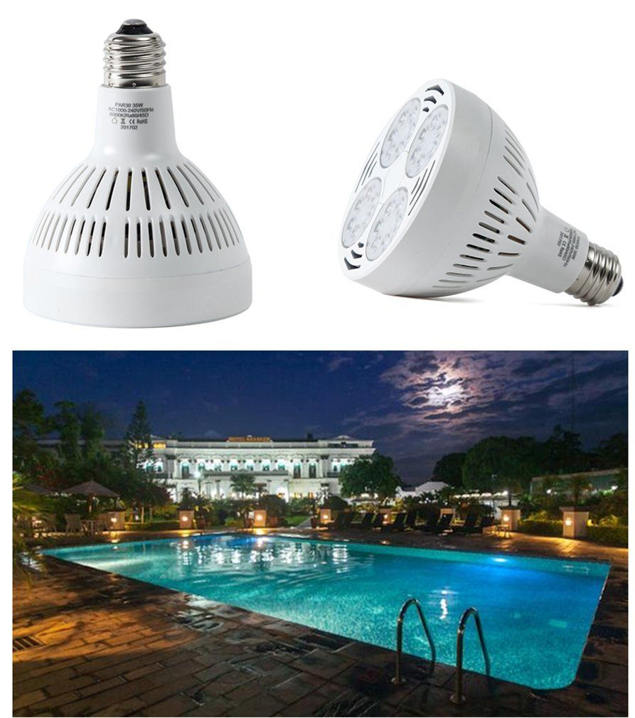 Amazon Com E Cowlboy 300 500w Traditional Bulb Replacement 35watt 6000k Daylight White Light Swimming Pool Le Led Pool Lighting Led Light Bulb Swimming Pools