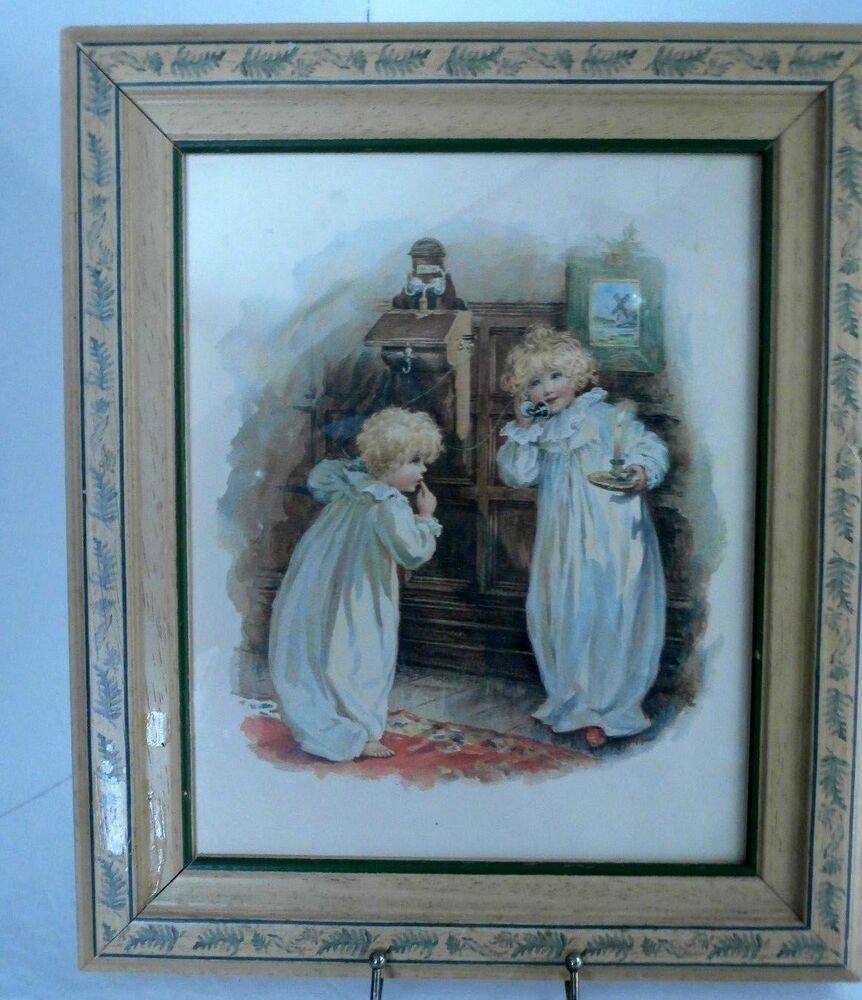 Vtg Blond Decorated Frame Picture 2 Little Girls Talking