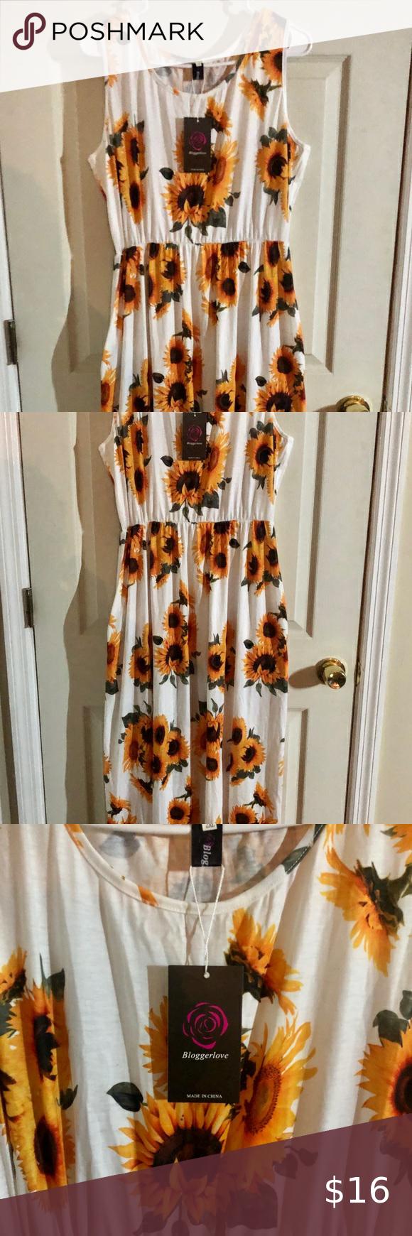 Nwt Sleeveless Sunflower Maxi Dress 2x Dresses 2x Maxi Dress Top Maxi Dresses [ 1740 x 580 Pixel ]