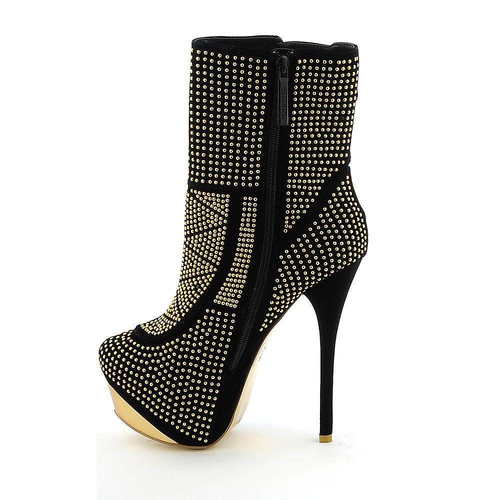 27324c84f991 Women s High Heel Ankle Boot Edita Top Black Gold